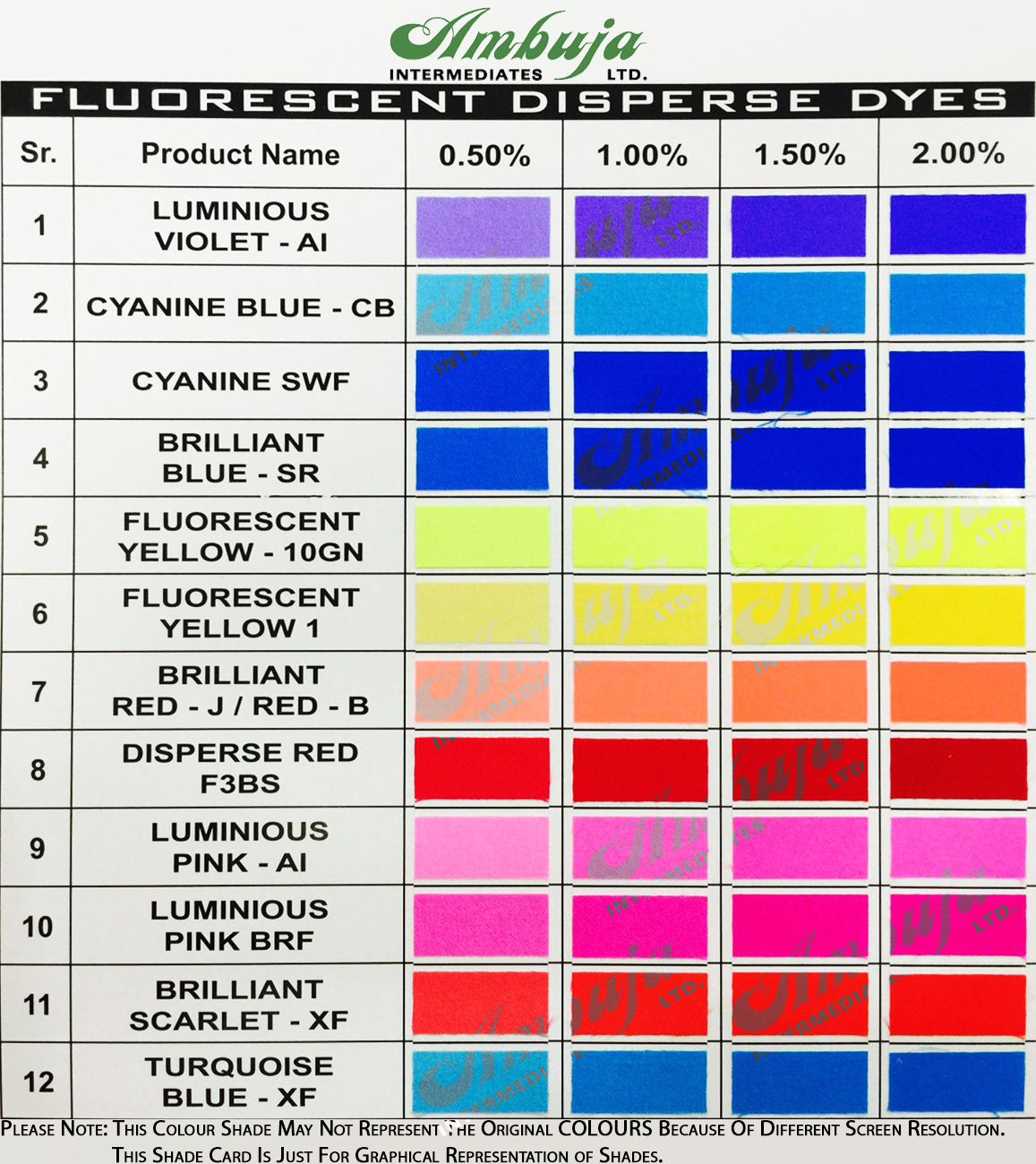 Shade Card for Fluorescent Disperse Dyes
